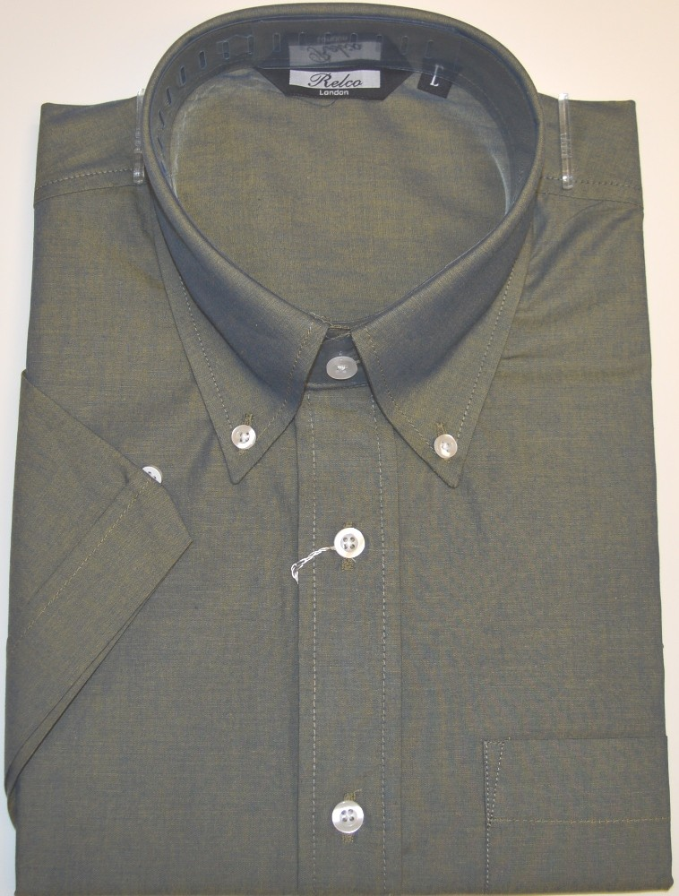 Relco Ladies Blue//Green Tonic Button Down Short Sleeved Shirts